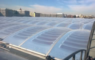 Photovoltaic panels inside the Etfe roof panels, Munich Awm